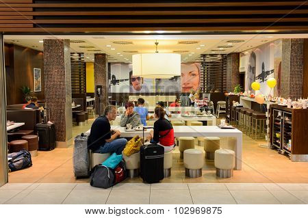 PRAGUE, CZECK REPUBLIC - AUGUST 16, 2015: McDonald's restaurant. McDonald's is the world's largest chain of hamburger fast food restaurants, founded in the United States.
