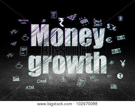 Money concept: Money Growth in grunge dark room