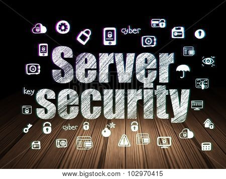 Privacy concept: Server Security in grunge dark room