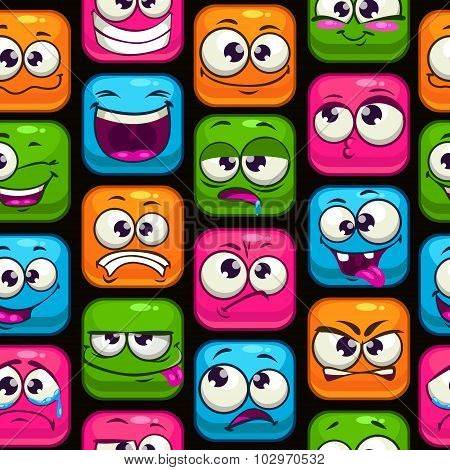 Seamless pattern with funny cartoon colorful faces
