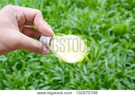 Hand Hold Incandescent Bulb With Lighting