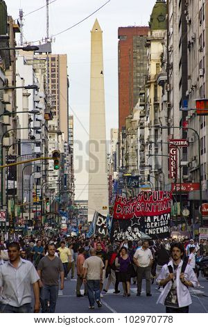 Protest In Buenos Aires Downtown Nearby The Obelisc
