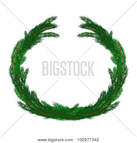 Simple Christmas Wreath Isolated On White. Evergreen Branches. New Year Symbol.
