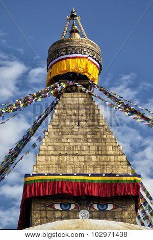 Details of Boudhanath stupa in Kathmandu, Nepal