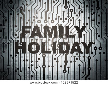 Travel concept: circuit board with Family Holiday