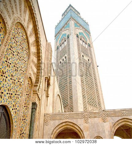 Muslim In  Mosque The History  Symbol   Morocco  Africa  Minaret   Religion And  Blue    Sky