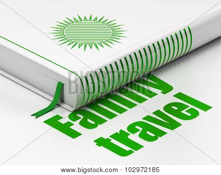 Travel concept: book Sun, Family Travel on white background