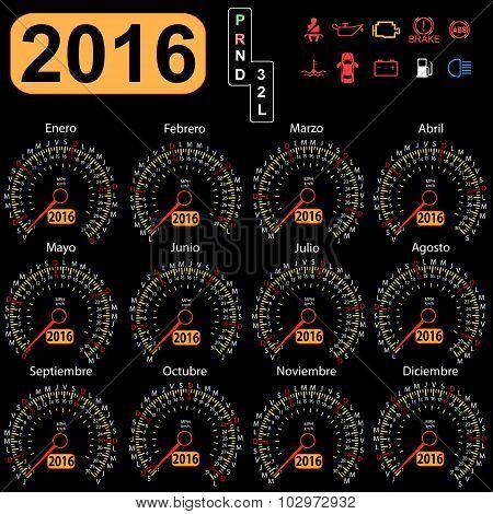 2016 year calendar speedometer car in Spanish. Vector illustrati