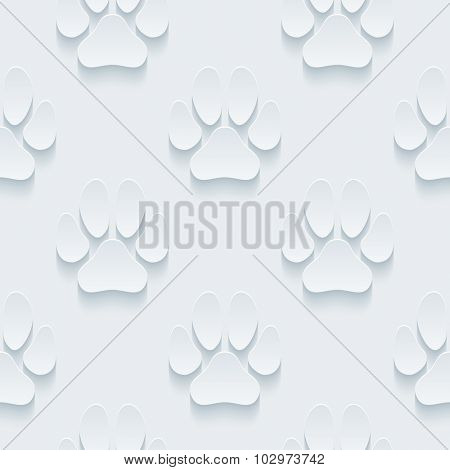 Paw prints 3d seamless background. Light perforated paper pattern with cut out effect.
