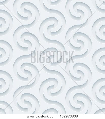 Greek meander, 3d seamless background. Light perforated paper pattern with cut out effect.
