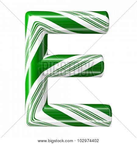 Mint hard candy cane 3d alphabet collection striped in Christmas colours. Letter E.