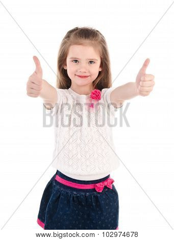 Smiling Cute Little Girl With Two Finger Up