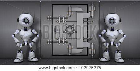 3D Render of a Robots Guarding a vault