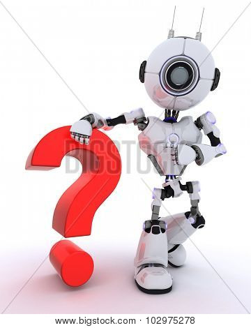 3D Render of a Robot with question mark symbol