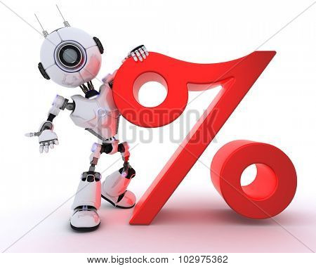 3D Render of a Robot with percentage symbol