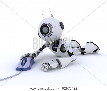 3D Render of a Robot with a computer mouse