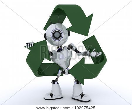 3D render of a Robot with recycle logo