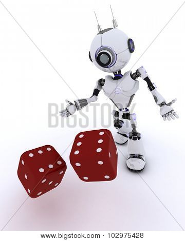 3D Render of a Robot with dice