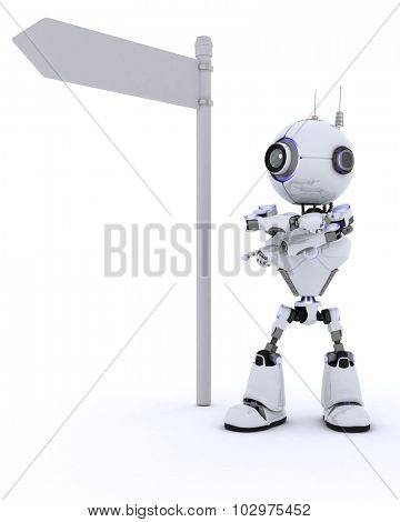 3D Render of a Robot with road sign