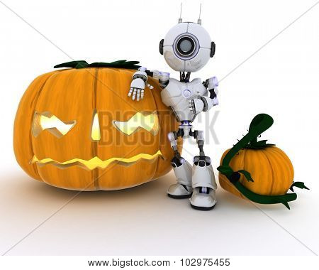 3D render of a Robot with jack-o-lantern
