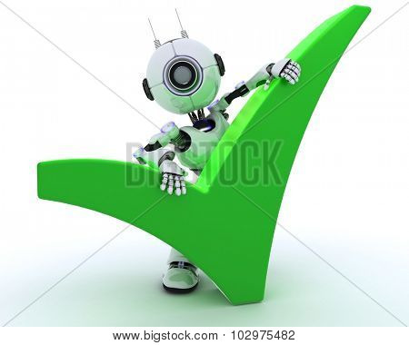 3D Render of a Robot with tick symbol