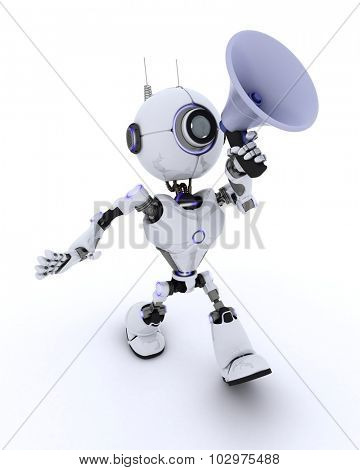 3D render of a Robot with megaphone