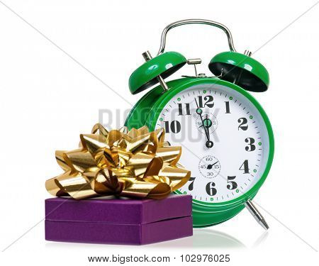Christmas - gift box with green alarm clock