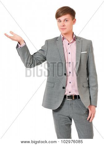 Smiling young man in suit, isolated on white background