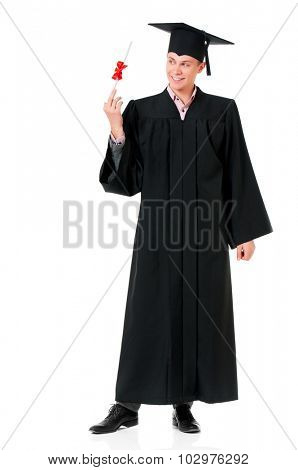 Graduate guy student in mantle with diploma, isolated on white background