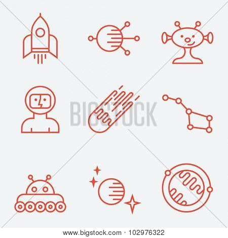Space icons, thin line style, flat design