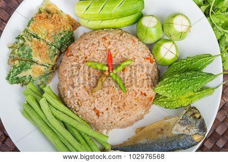 Rice Mixed With Shrimp Paste Fried Mackerel