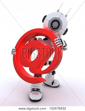 3D Render of a Robot with email  sign