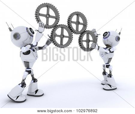 3D Render of a Robots with gears