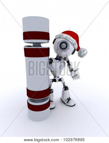 3D Render of an Robot with a christmas cracker