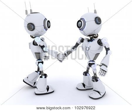 3D Render of a Robots shaking hands