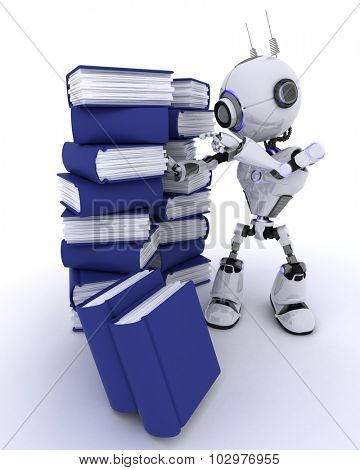 3D Render of an Robot with stack of books