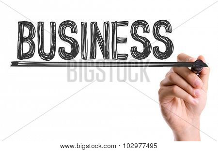 Hand with marker writing: Business