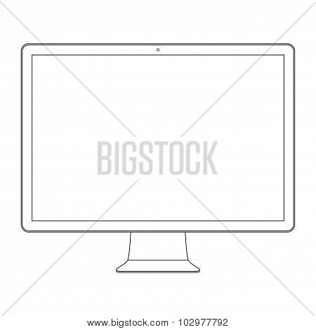Monitor Outline Icon Symbol On The White Background. Stock Vector Illustration Eps10