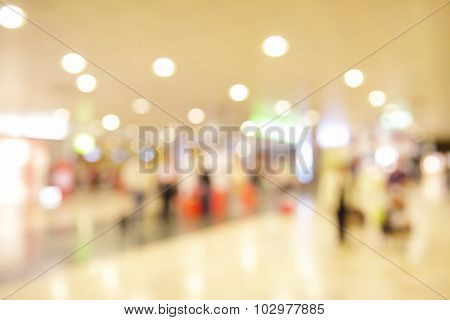 Big hall in airport out of focus - defocused background