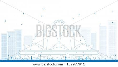 Outline The Lotus Temple, located in New Delhi, India, is a Bahai House of Worship. Vector Illustration