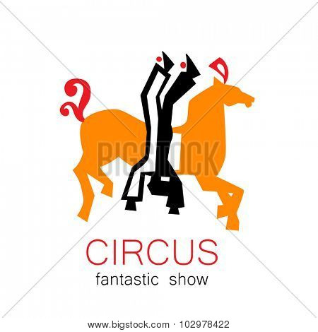 Circus - template logo. Show of acrobats, tightrope walkers on horseback.