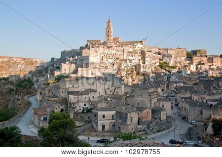 View Of The City Of Matera And The Typical Stones