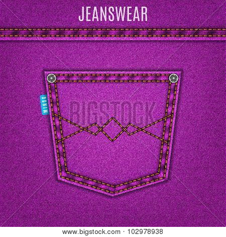 Jeans Purple Texture With Pocket Denim Background. Stock Vector Illustration Eps10