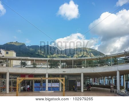 Modern Architecture And Mountains At Historic Center Of Bogota Colombia