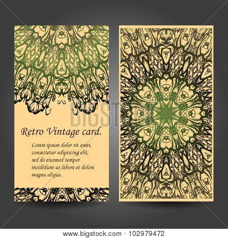 Set retro business card. Card or invitation. Vintage decorative elements. Hand drawn background. Isl