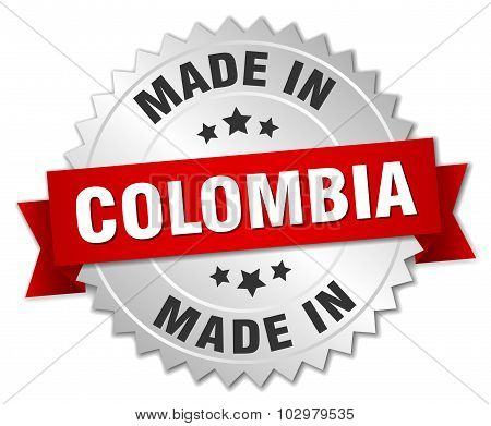 Made In Colombia Silver Badge With Red Ribbon