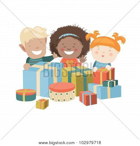 Illustration of Kids Opening Christmas Gifts