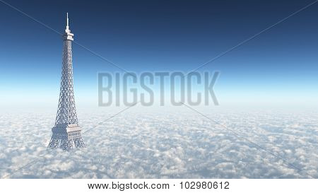 Eiffel Tower above the clouds