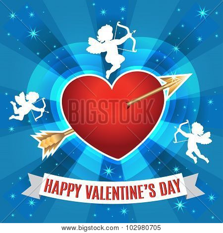 Heart With Arrow And Silhouette Of A Cupids For Valentines Day. Vector