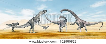 Allosaurus attacks the Diplodocus